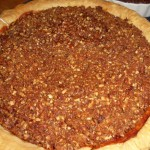 Homemade Pumpkin Pie with Candied Pecan Topping