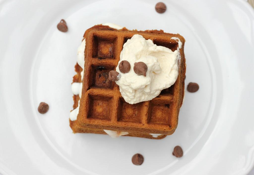 coffee waffle add waffle and whipped cream