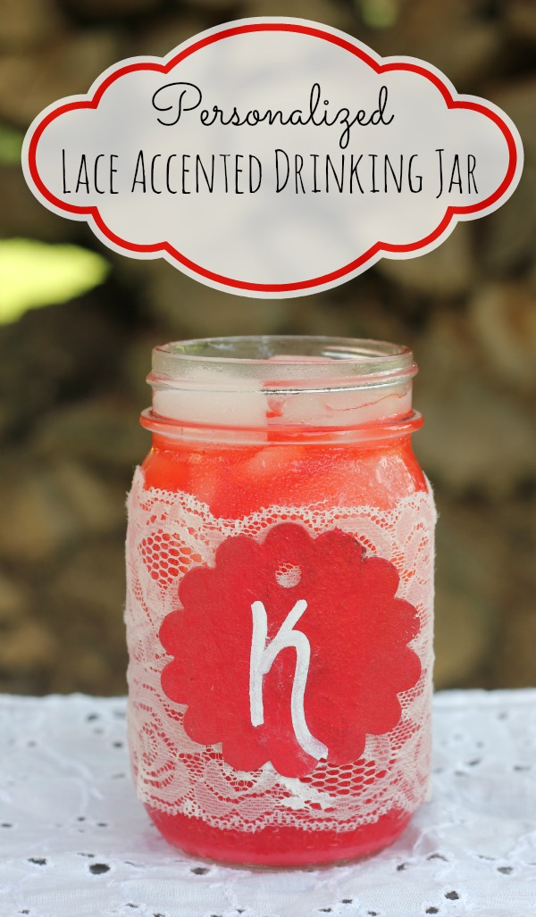personalized lace accented drinking jar