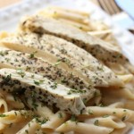 "Basil Chicken with ""Skinny"" Alfredo Sauce"