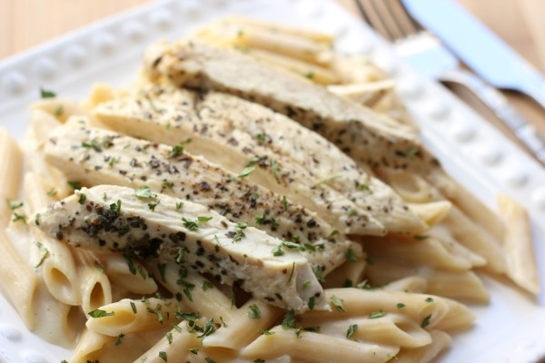 Chicken with Skinny Alfredo Sauce