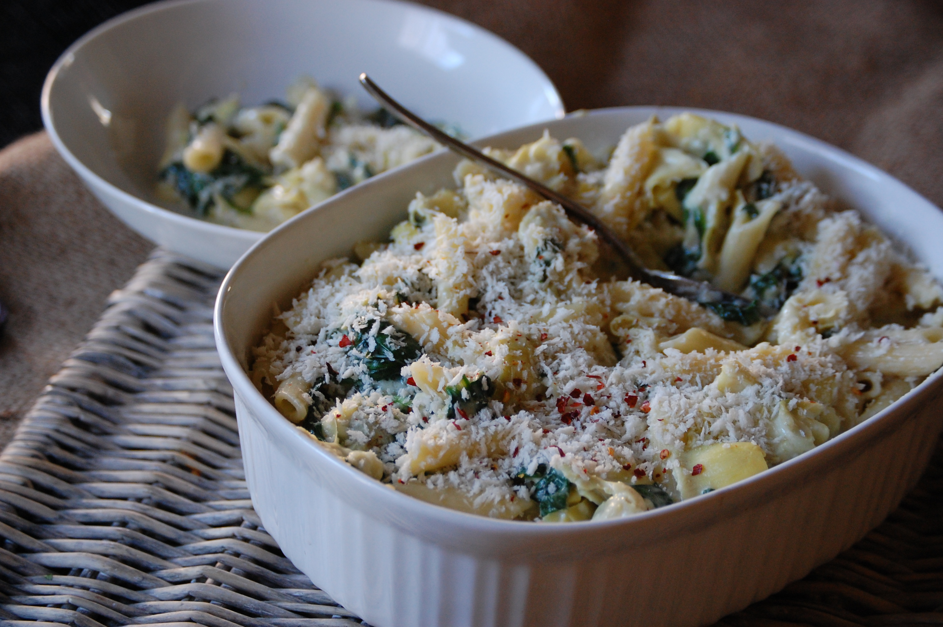 Spinach ARtichoke Pasta with Panko Breadcrumbs