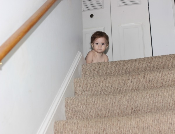 Kyla up the stairs