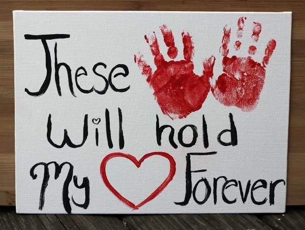 Valentines Day handprint art