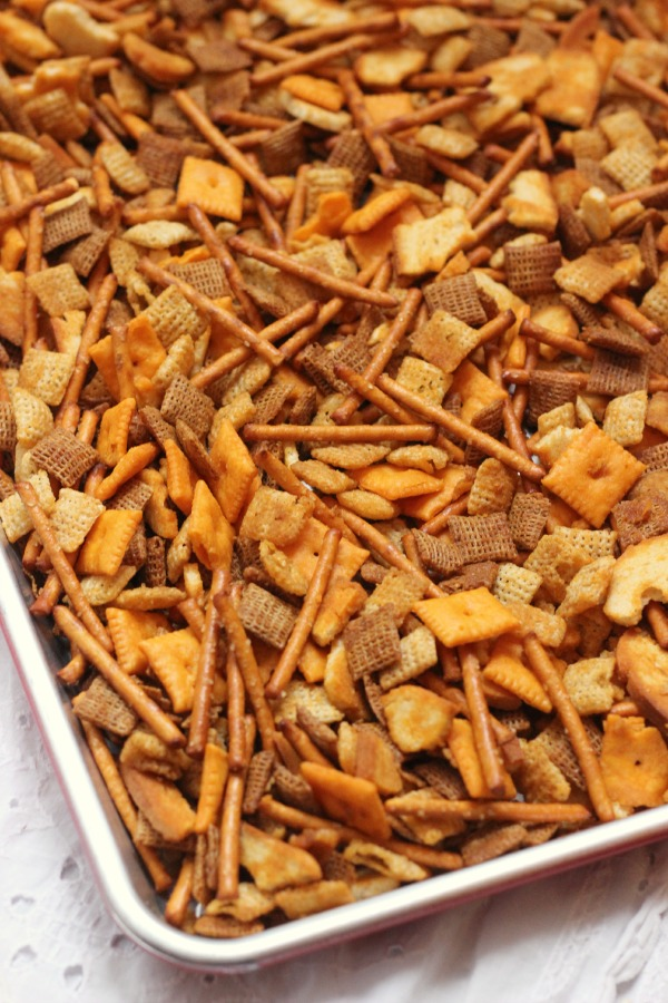 Spread Mix on Cookie Sheet
