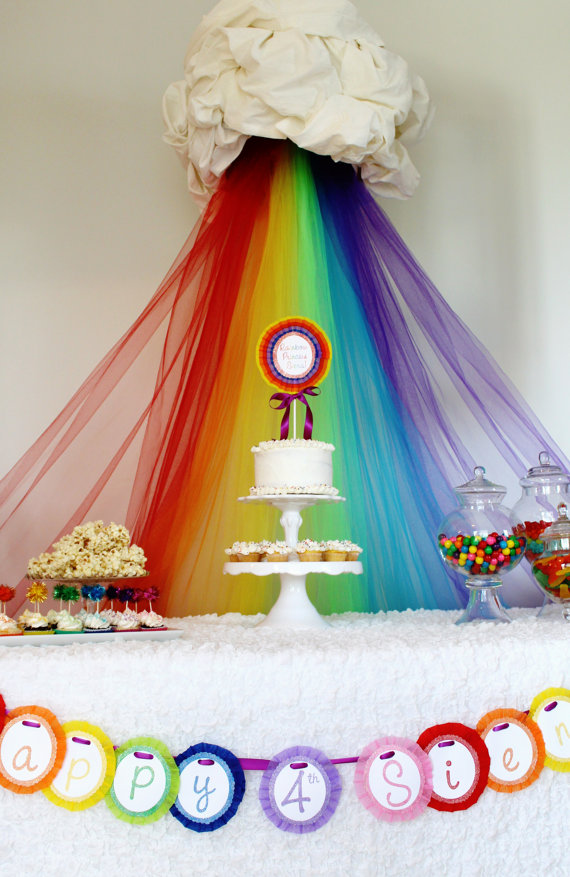 rainbow cake table