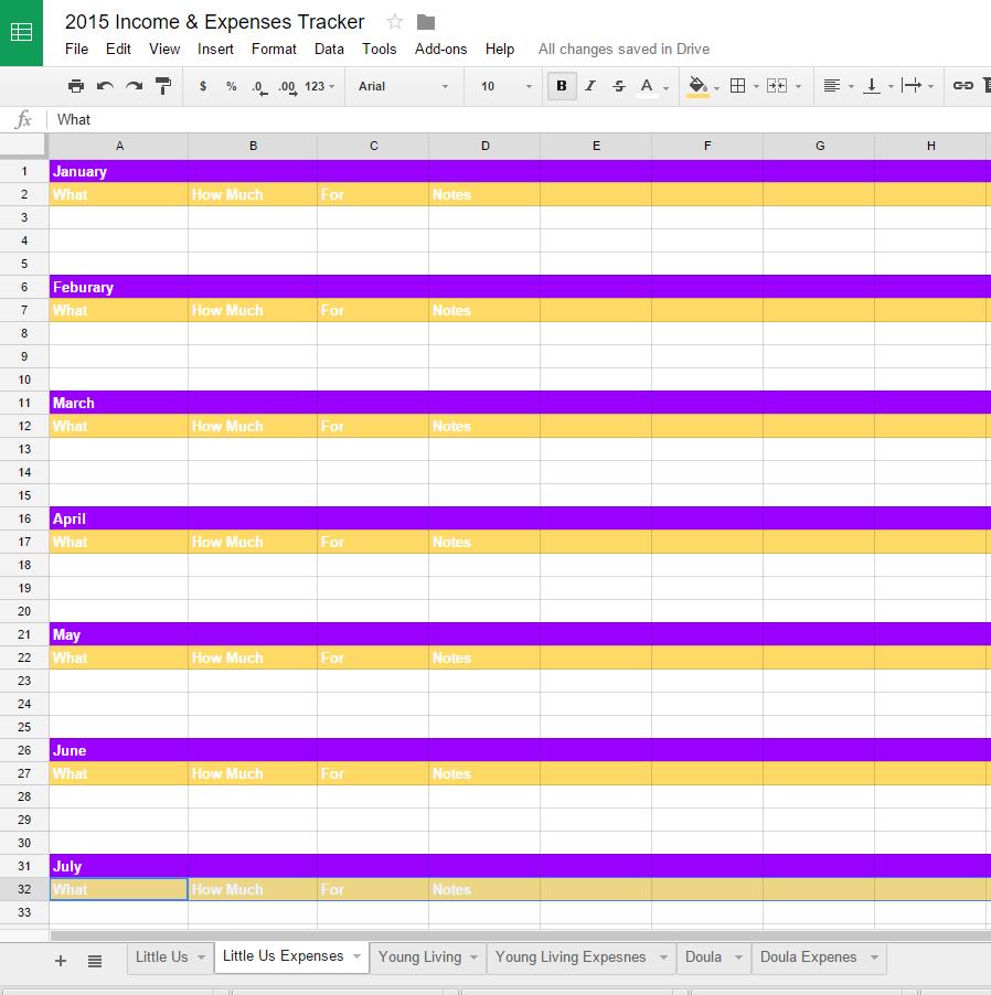 expenses tracker sample