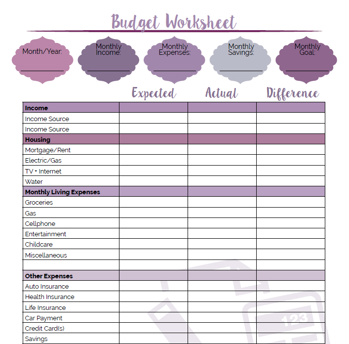 Printable Budget Worksheet Little Us – Budget Worksheet Printable