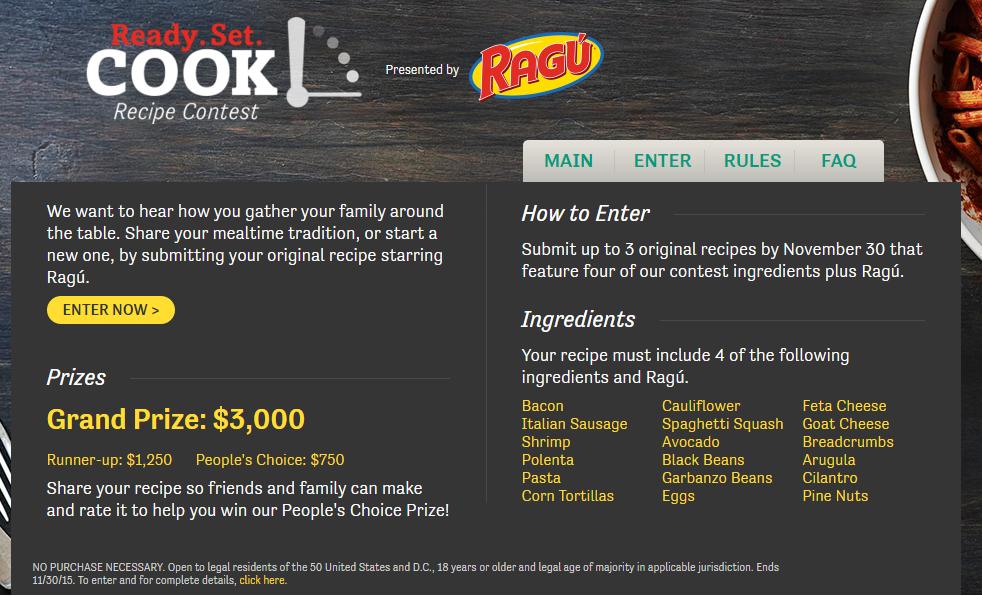ready set cook ragu contest