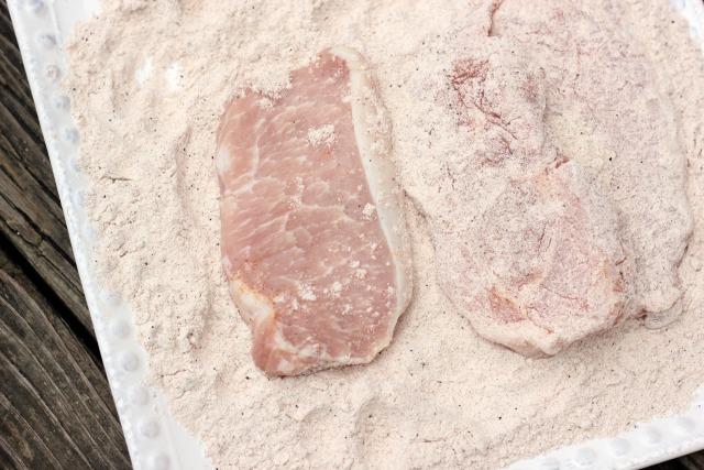 flour the boneless pork chops