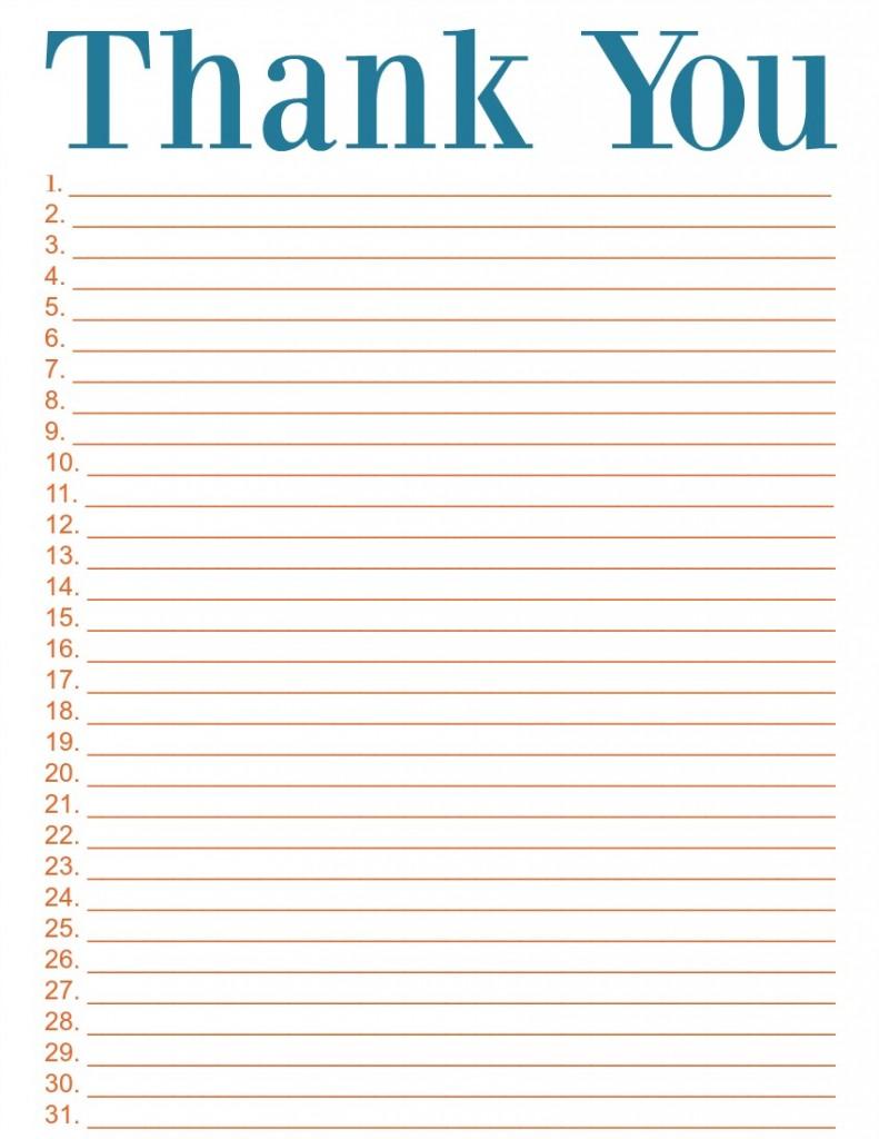 Thank You List