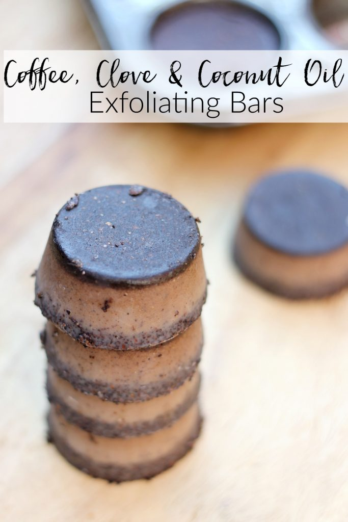 coffee clove and coconut oil exfoilating bars