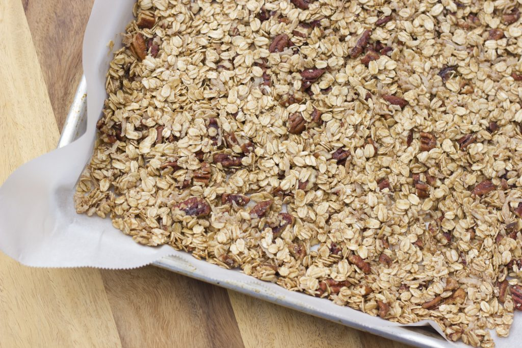 maple pecan granola before baking