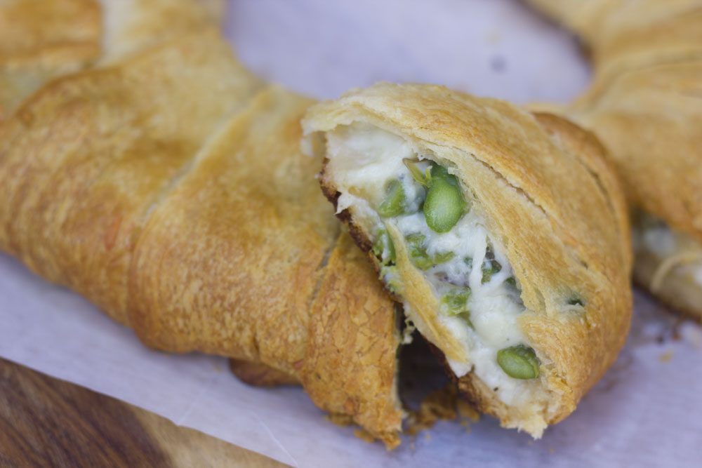 baked cheesy asparagus crescent roll inside